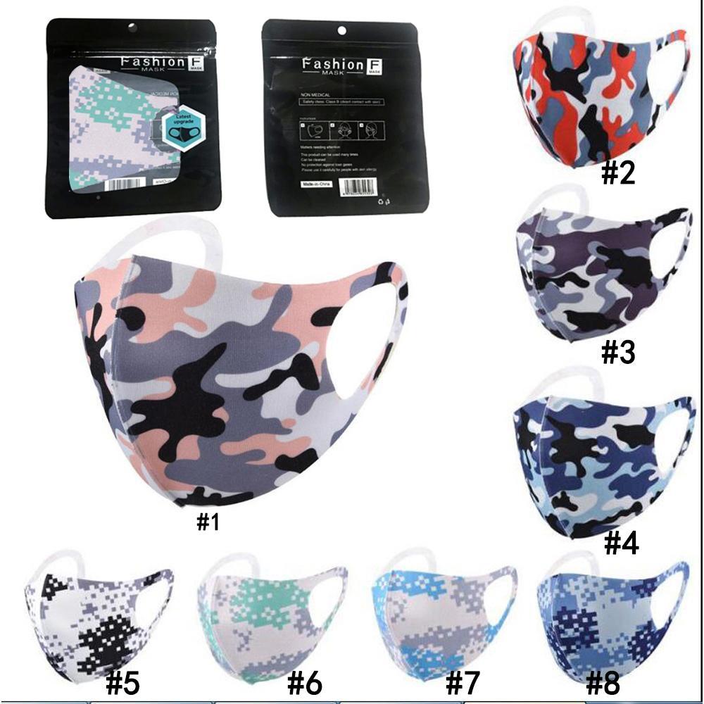 Камуфляж маска для лица 8 цветов моющегося многоразового Mouth крышки пыле Анти пыль Красочных маски моющихся Взрослых Маски DHL Freeshipping