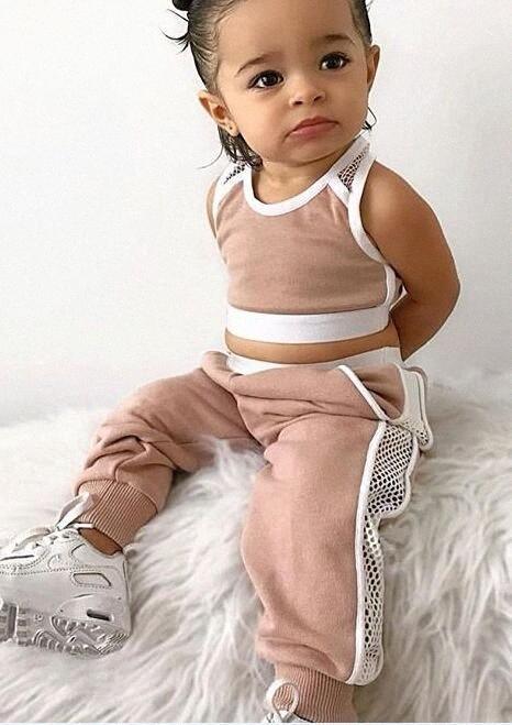 2020 2020 Hot vente Nouveau été tout-petits layette Sets Rose sport Gilet Débardeurs + longues Pantalons Tenues Set Survêtement qWkA #