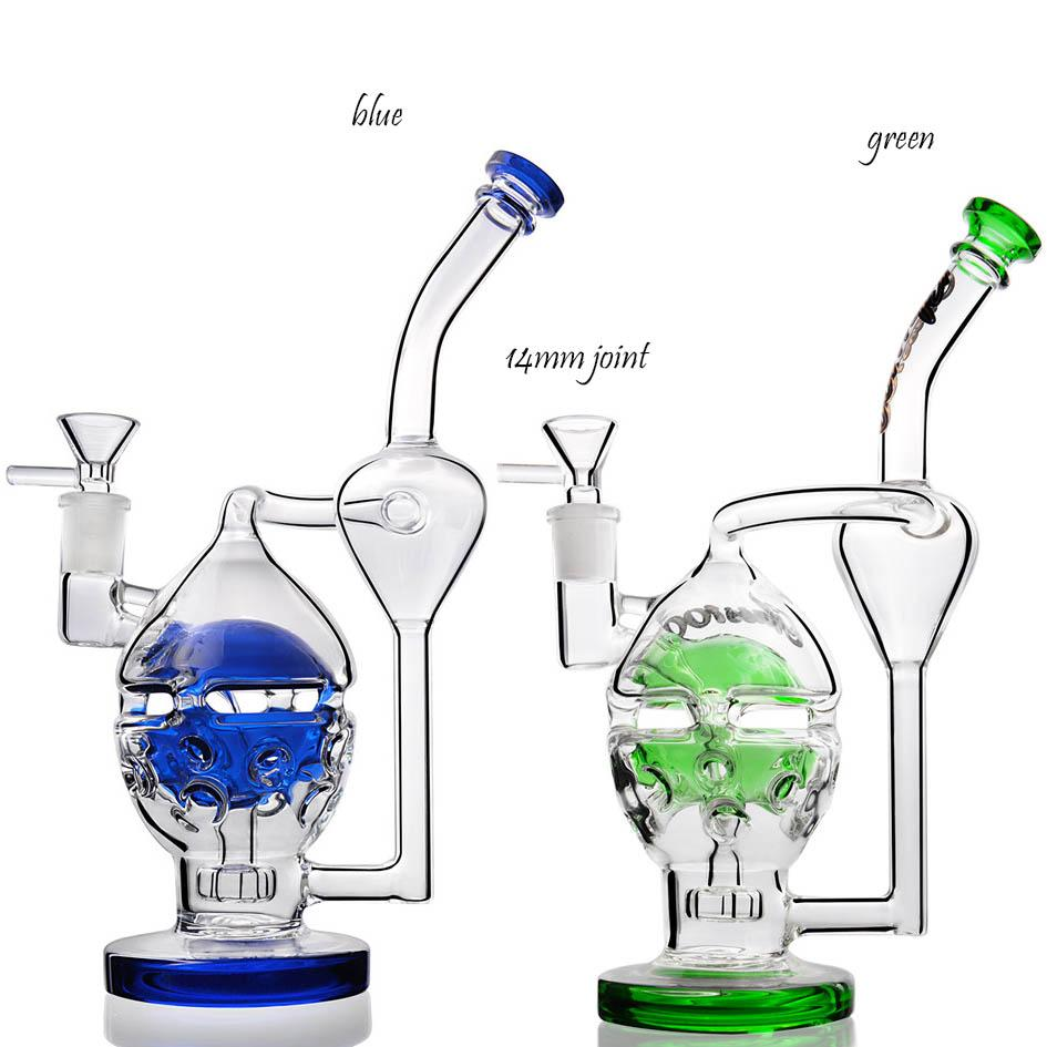 10.2 inchs Skull Glass Bong Water Pipes Feb Egg Bong Recycler Dab Rigs Hookahs heady glass with 14mm bowl