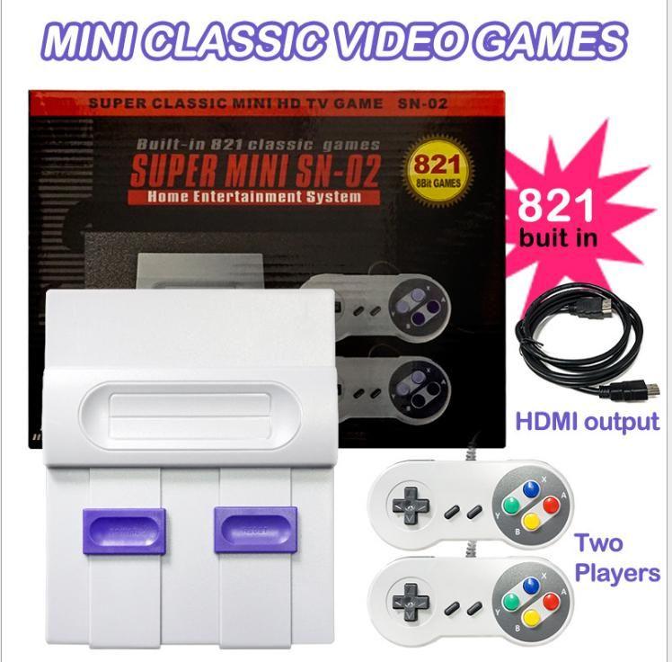 HDMI juego clásico de televisión de video de mano consola de entretenimiento de juegos del sistema Para NES Mini HD Consolas con dos jugadores de 821 juegos