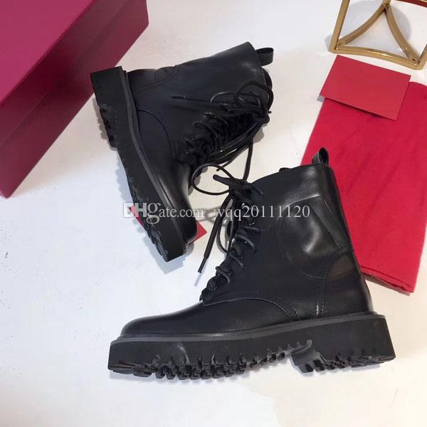 New women's ankle boots luxury leather women's boots double lace short flat sole lace box winter boots