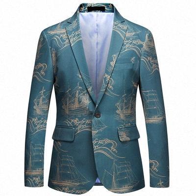 Mens forma los Blazers Tops boda Slim Fit chaquetas abrigos vestido de la impresión formal masculino del color del contraste Blazers KKgv #