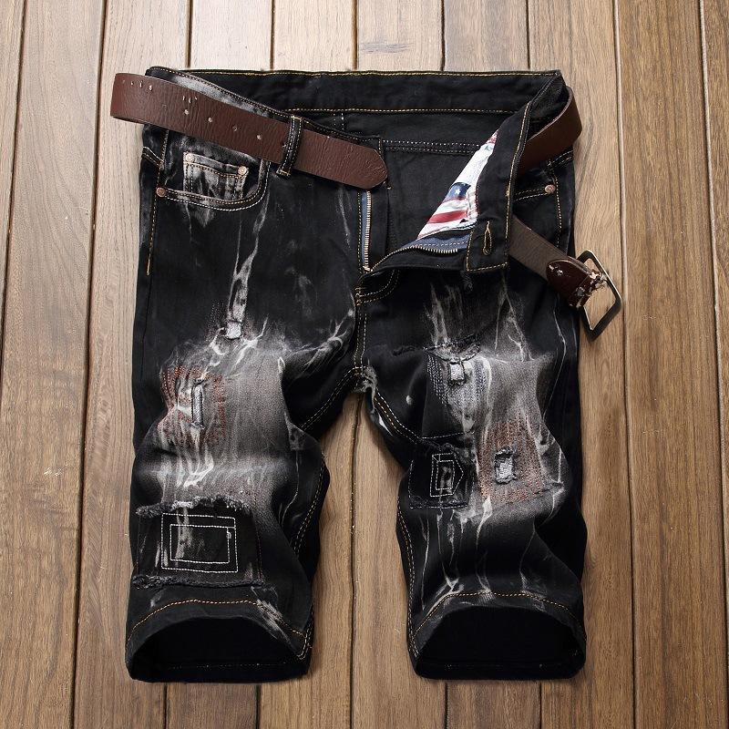 Negro Jeans holgados Hombres remiendo pantalones cortos de mezclilla rasgado Streetwear Jean para el hombre negro Lavado agujero apenada del motorista Jeans Homme