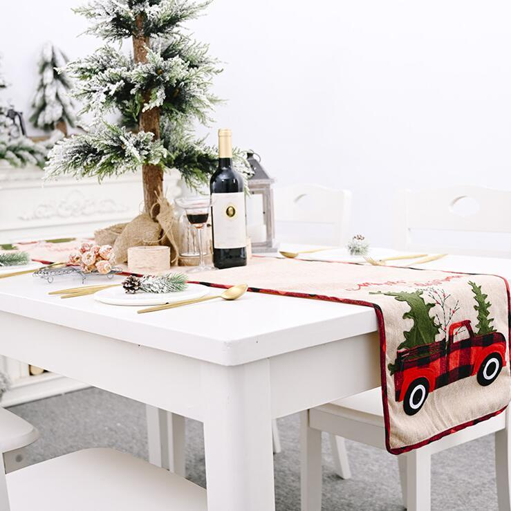 Christmas Table Runner Tablecloth Cotton Linen Table Cover Car Xmas Tree Flag Table Dress Tablecloth Eating Mat Christmas Decorations LJA186