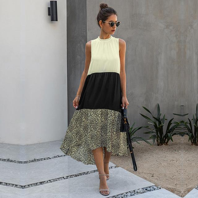 2020 neue Art und Weise Sommer-lose gekräuselten Patchwork-Kleid-Frauen-beiläufige ärmelloses Kleid