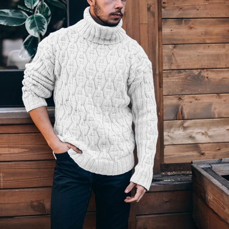 men's autumn Sweater pullover Men Knitting jumper Long Sleeve stylish Cable Sweatshirt Knitwear Winter Clothes Turtleneck casual sweaters