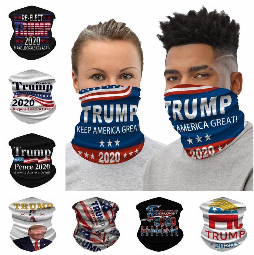 Trump 2020 Banderas de poliéster ciclismo Máscaras impresas en 3D mágica con banda de Trump Trump Ciclismo Pañuelos Pañuelos 25 * 50cm 9 estilos 60pcs CCA12150