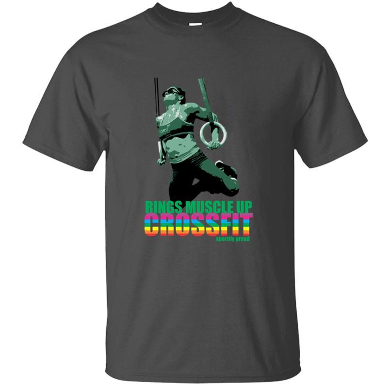 Anneaux de conception personnalisée Muscle Up Crossfit Fierté gaie T-shirt unisexe col rond Gents Nouveauté Les hommes et les femmes T-shirts