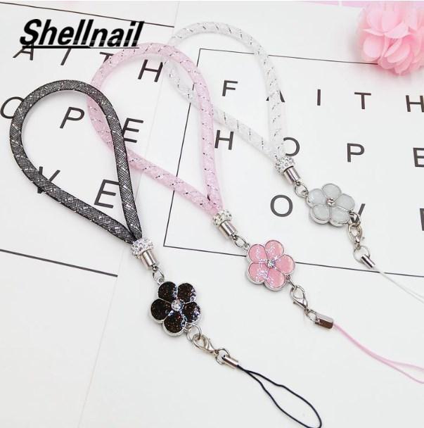 SHELLNAIL malha Estrela Mobile Phone Straps Camellia Mão Ropes pingente de casal corda Segurar para a chave do cartão de identificação colhedores telefone