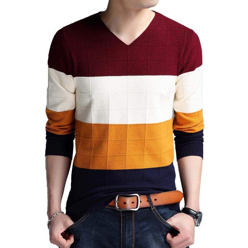 BROWON Brand-sweater Autumn Men's Long Sleeve Sweaters New V-neck Slim Fit Sweater Striped Bottom Sweaters Large Size M-4XL T200720