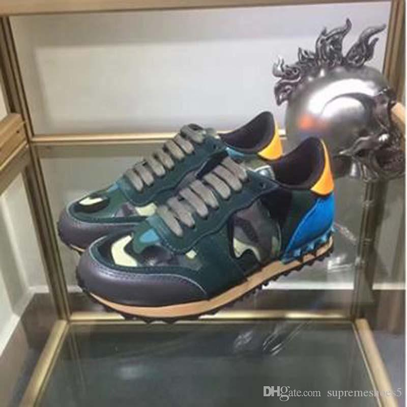 Las mujeres / los zapatos ocasionales de los hombres camuflan cordón de cuero genuino hasta zapatos de los pares unisex remaches zapatos planos EE8