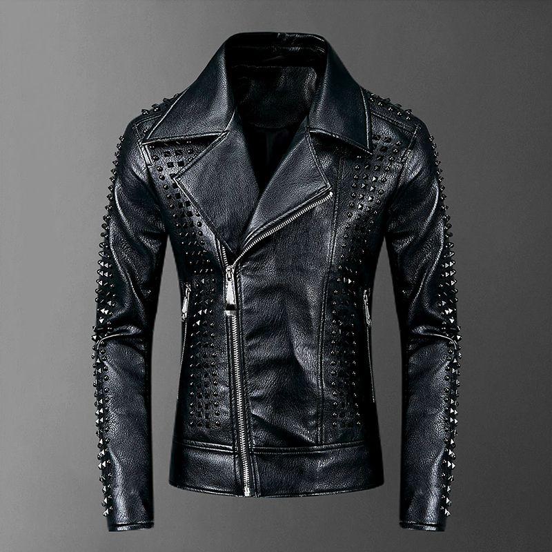 Высокое качество Rivet кожаная куртка Мужчины 2020 Punk Rock Кожезаменитель Мужчины Пальто XXXL