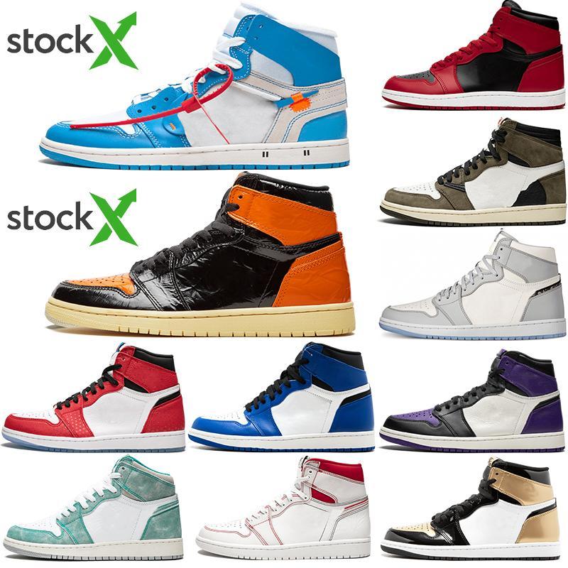 2020 Новое прибытие Jumpman 1 1s Высокий черный носок не для перепродажи Мужчины Женщины Баскетбол обувь Obsidian UNC Черный Белый Мужские кроссовки женщин обувь