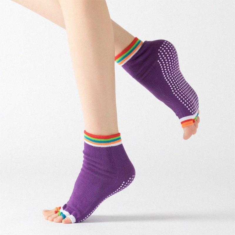 de las mujeres antideslizante fitness danza Pilates calcetines Profesional yoga interior calcetín cinco del dedo del pie sin respaldo aptitud ballet señoras Calcetines # RA08