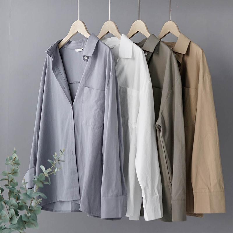 Lizkova 100% coton Chemisier blanc manches longues femmes Chemise oversize 2020 Printemps Japenese Lapel Avslappnad Tops 8887 CX200708
