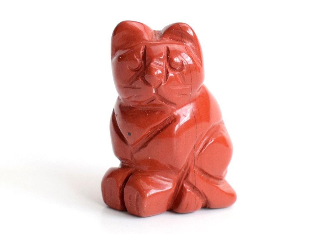 1,5 Zoll Höhe Small Size natürliche rote Jaspis geschnitzt Kristall Reiki Healing glückliche nette Katze Statue