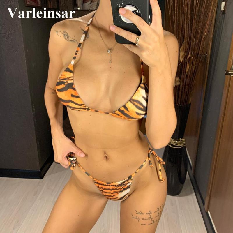 2020 Sexy Thong Bikini Frauen Bademode weiblichen Badeanzug Zwei-Stücke eingestellt Bikini Micro Badende Halter Badeanzug Swimabnutzung V1587
