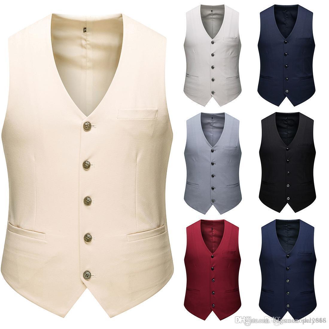 Мужская однобортный костюм жилет Семь выбор цветов Groom Жилеты для венчания Мужчины Slim Fit Жилет Бизнес Формальное Wear Solid Короткие Мужской Сгусток