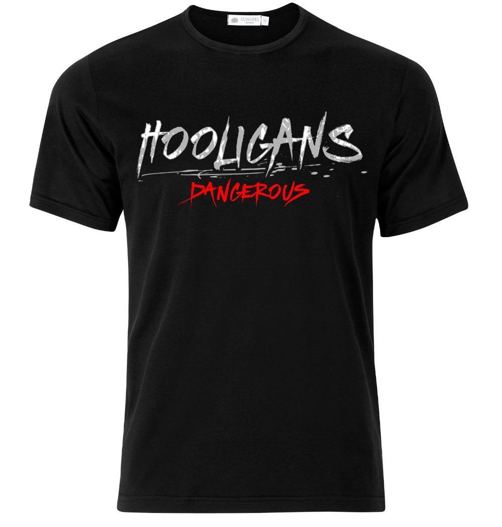 Hooligans Dangerous Ultras Mens Black 100% Baumwolle T-Shirt-Spitze T-gute Qualität 2020 Männer Art und Weise der Farbe Art und Weise O-Ansatz beiläufige