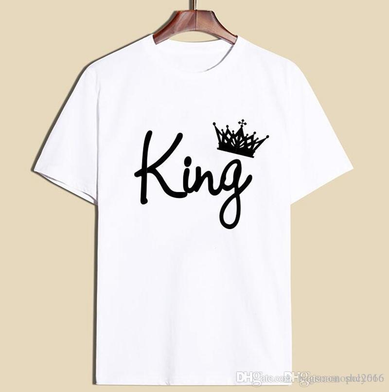 Hombre de la camiseta del equipo de mezcla Nrck manga corta de algodón de alta calidad reina rey Carta 3d impresión remata tes Polos ocasional de la camisa masculina del tamaño S-2XL T5