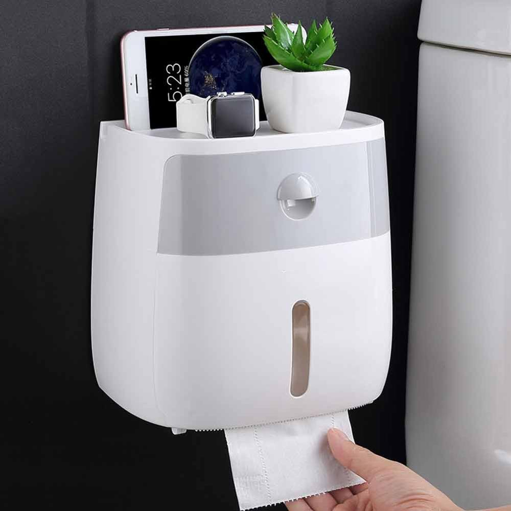 Waterproof Bathroom Tissue Box Plastic Bath Toilet Paper Holder Wall Mounted Paper Storage Box Double Layer