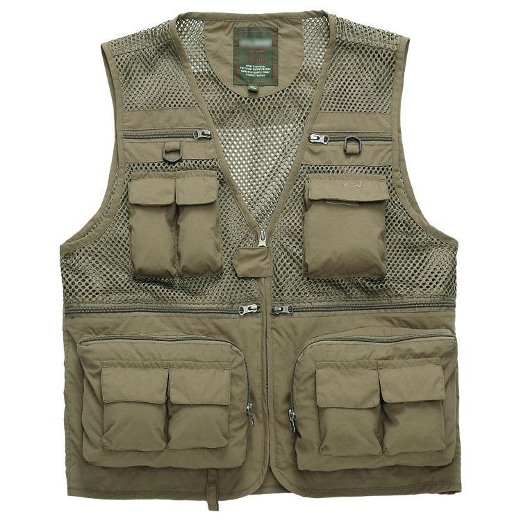 2014 حقائب ربيع رجل جديد الصدرية الملابس متعدد جيب قسم رقيقة شبكة التصوير صدرية بالجملة
