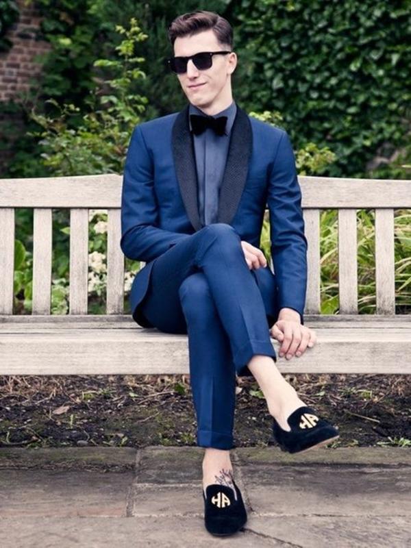 2020 Navy Blue Suit Mens Wedding Suits su ordine misura sottile di affari degli uomini del partito di promenade smoking dello sposo 2 piece set (Jacket + Pants)