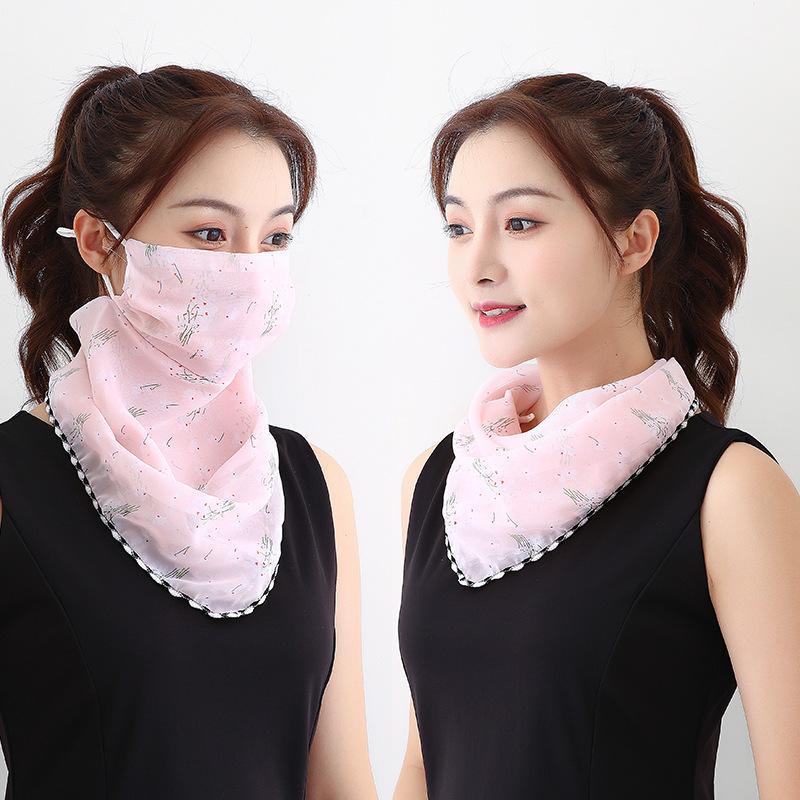 DHL olarak Stok şifon Kadınlar Spor Bisiklet Eşarp Yüz İpek Mendil Açık Windproof Yarım Yüz Toz geçirmez Güneşlik Maskeler Maske