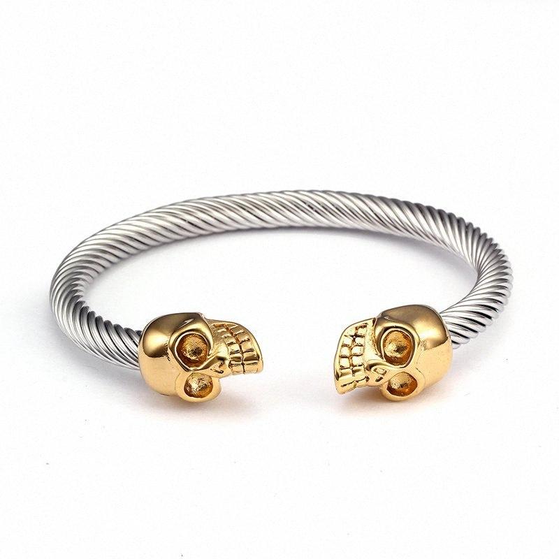 Scheletro dell'annata di alta qualità Wristband dei braccialetti del nuovo di disegno dell'acciaio inossidabile del cranio maschio aperto del polsino BRACCIALE coOY #