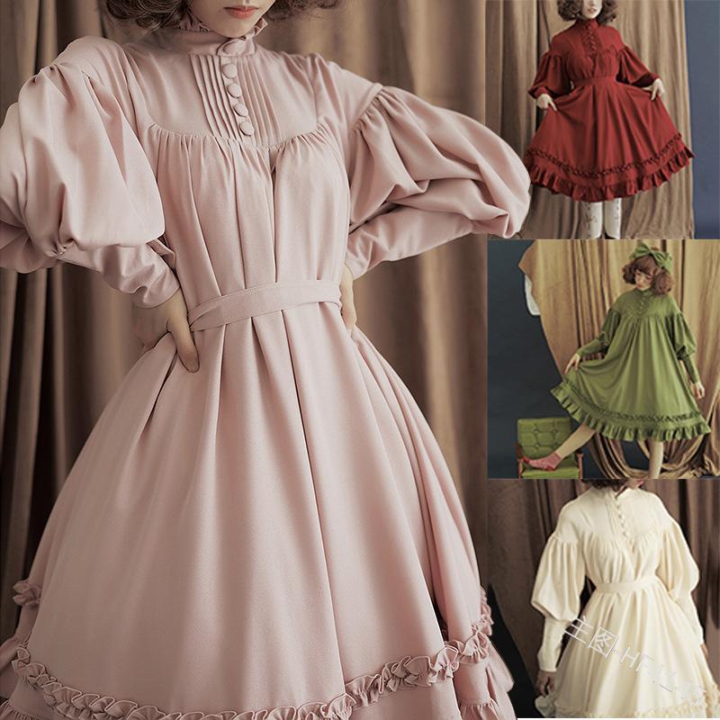 Gothic Vintage Robe Lolita robe de princesse Etudiante japonaise lanterne manches Parti mignon vestidos doux lolita