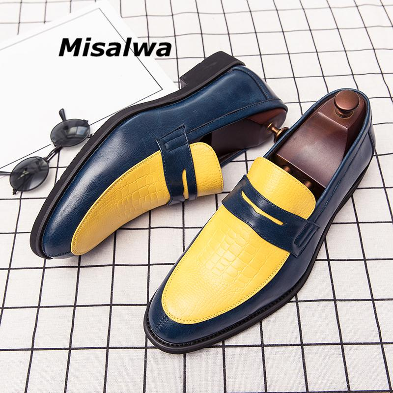 Misalwa Yellow Red White Shiny Loafers Men Wedding Party Dress Shoes PU Leather Elegant Men Flats Plus Size 38-48 Dropshipping