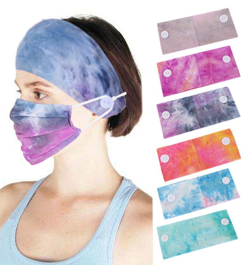 Frauen Tie-Dye Knopf Stirnband für Mask Sport Yoga-Übung Soft-Taste Haarband Turban für Mädchen-Geschenk-Haar-Zusätze