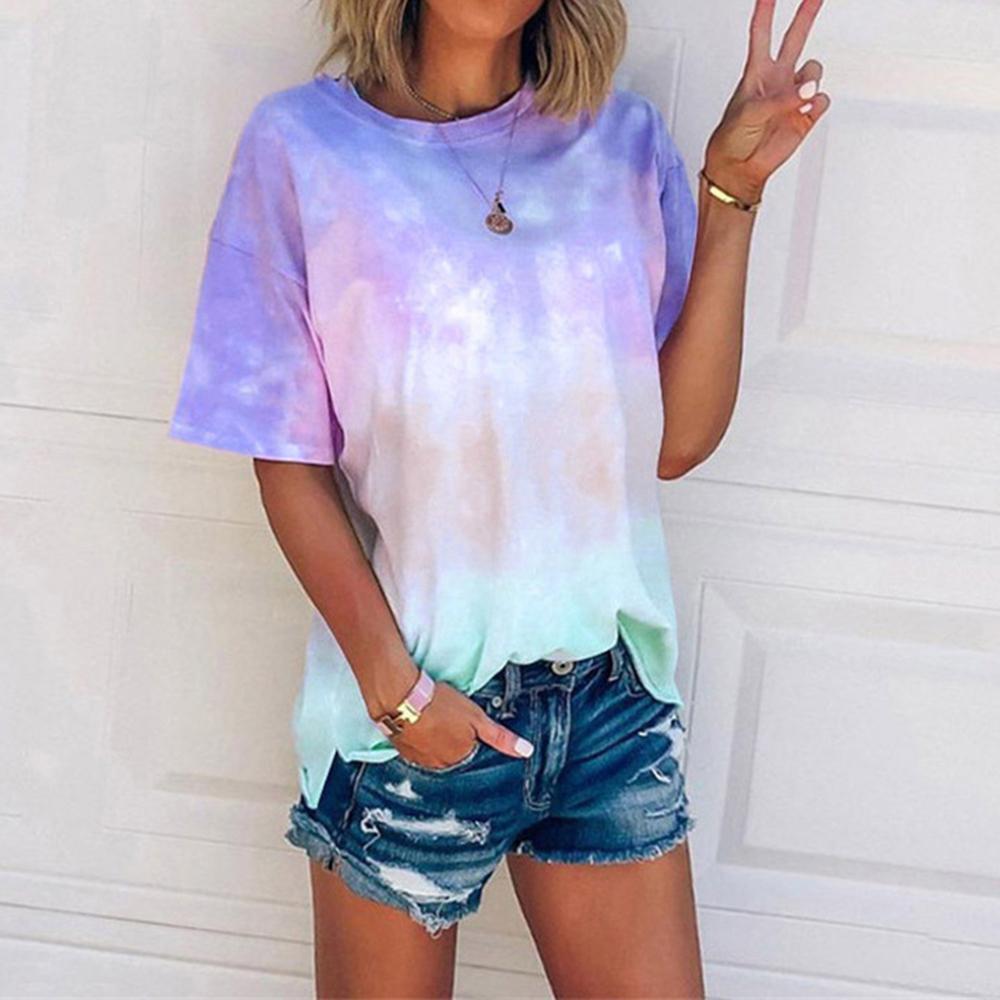 Nebula Baskılı Kadınlar Tişört Batik Bayanlar Tişört Tee Kısa Kollu Yaz Yuvarlak Yaka Moda Erkek T Shirt D30 MX200721 Tops