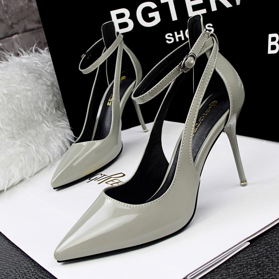 2020 Women High Heels Fashion Pointed Toe Office Shoes Women's Solid Flock Shallow High Heels Shoes for Women
