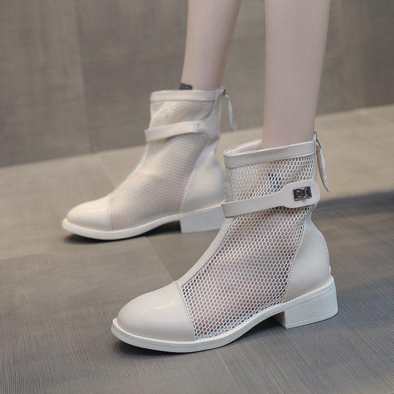 New Breathable Ineinander greifen Frauen-Sommer-Ankle Boots-Absatz-Sandelholz-Frauen-Schuhe Art und Weise runde Zehe Niedrig-verfolgte beiläufige Stiefel Schuhe Mujer
