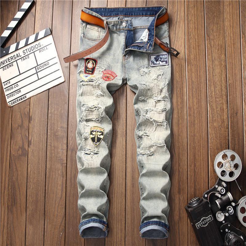 Мужские джинсы Хип-хоп известный дизайнер брендов высокого качества Скейтборд джинсовые брюки