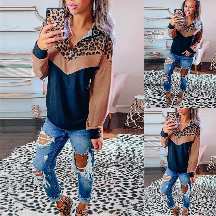 Top Donne Pullover Hoodies Leopard Patchwork Autunno Inverno casuale collare del basamento Zipper Felpa Streetwear femminile Hoody