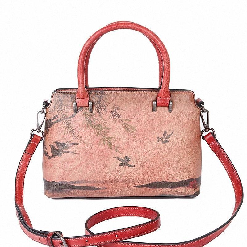Mode Frauen Handtasche Leder Schultertasche Damen-lässige Handgemalte Tasche Ink-Landschaftsmalerei der Frauen-Handtasche Brown Handtaschen Handta r3A9 #