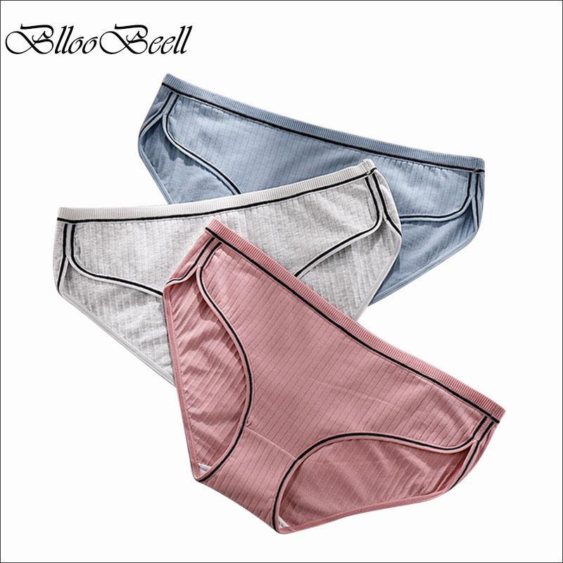 BllooBeell Большой размер женщин нижнего белья хлопка малоэтажных трусы для женщин Sexy Кружевные трусы Женский полосатой Lingerie 2XL / 3XL / 4XL