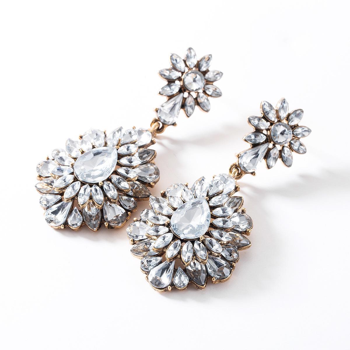 Esagerato stile multistrato in acrilico diamante full diamante orecchini diamante donne orecchini stile bohémien