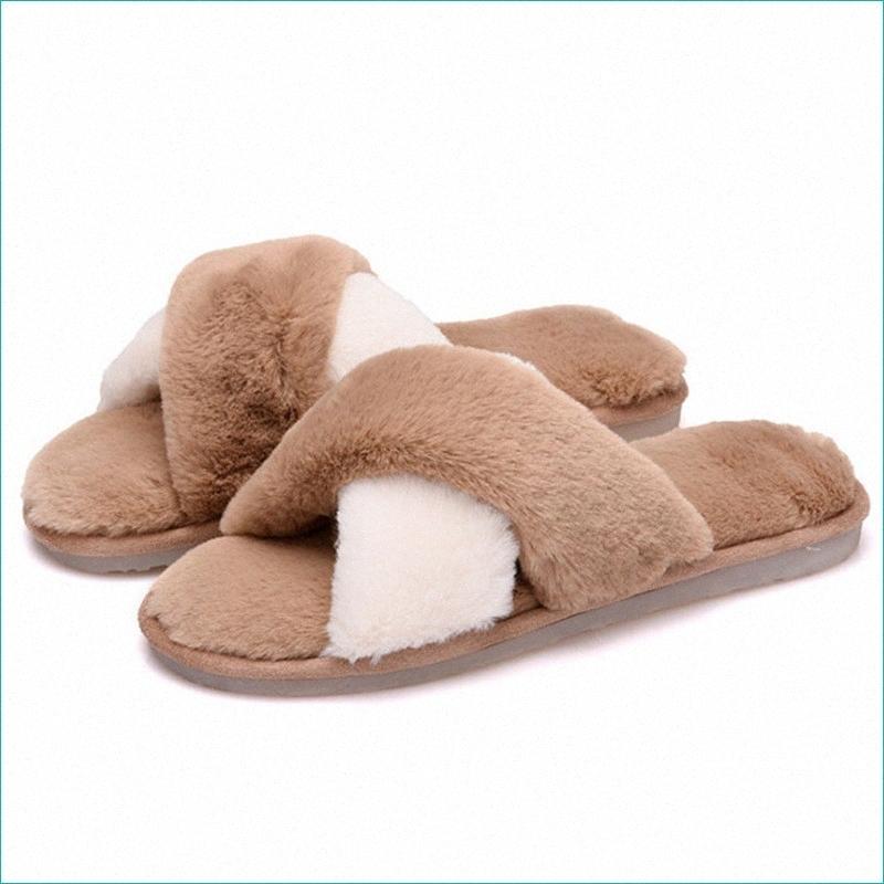 Signore della peluche di cotone scarpe imitazione Colore dei capelli Abbinamento scarpe morbido e confortevole casa J4tP #