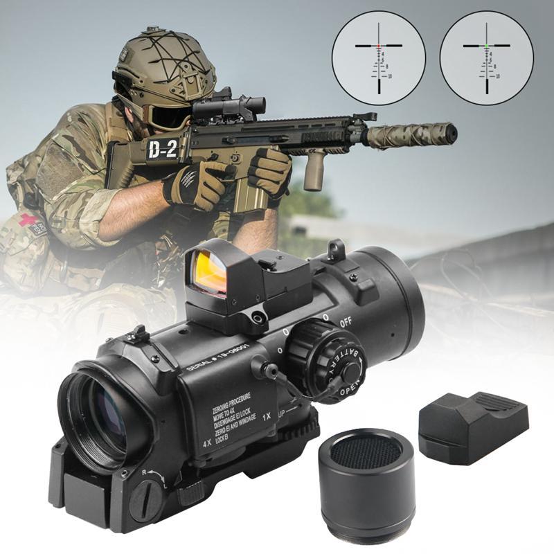 Быстрый Съемная Tactical 1x-4x Fixed двойной роли оптического прицел с Mini Red Dot Scope РМР для Винтовка Охота Airsoft Стрельба