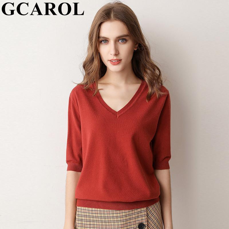 2020 Primavera-Verão V Neck T-shirt Doce Knit Close-montagem estiramento respirável Básico Tees minimalista Tops Plus Size 3XL 9 Colo