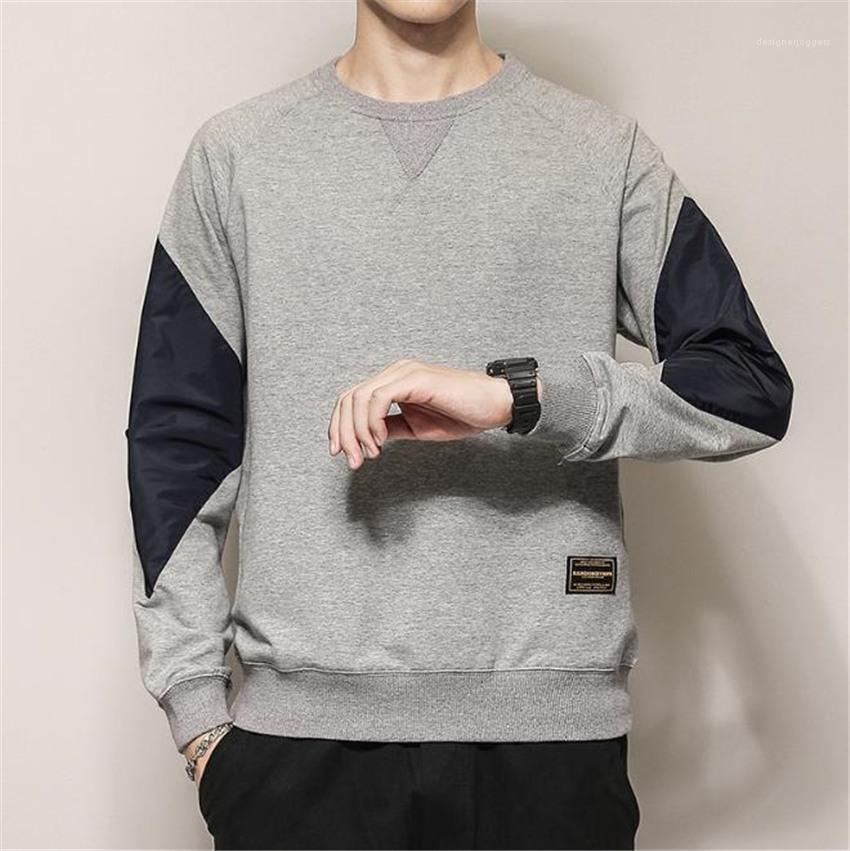 Pullover Man Hoodies Casual Spring Autumn Male Tops Loose Mens Sweatshirt Long Sleeve O-neck Patchwork Color