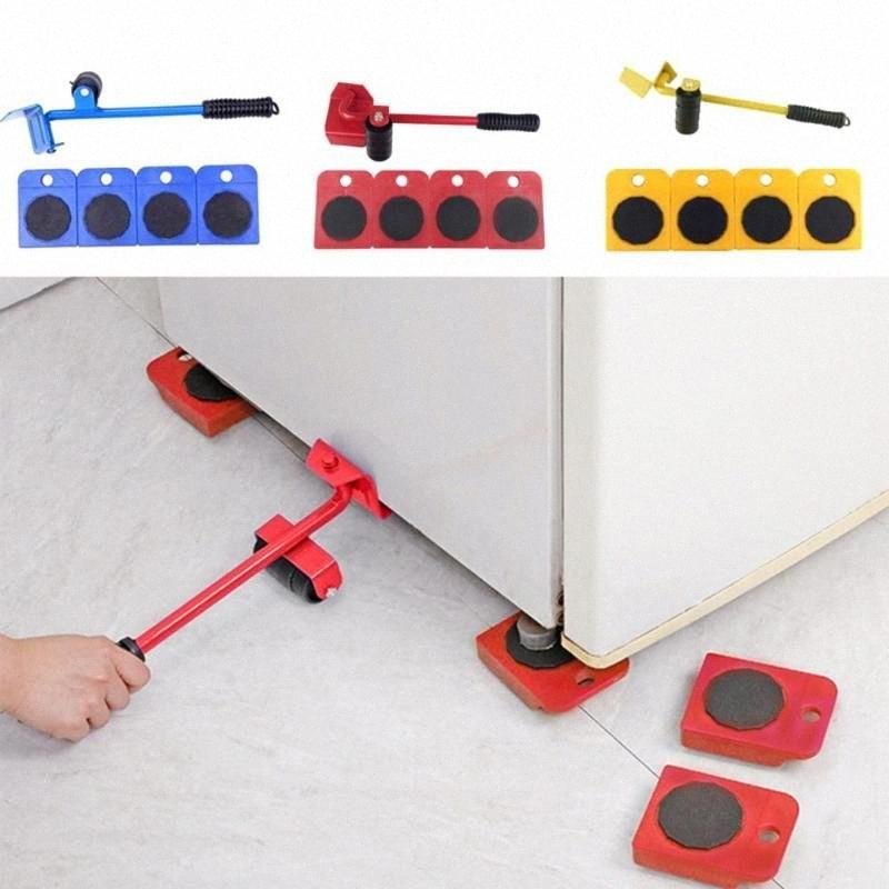 5 Pcs/set Furniture Lifter Heavy Professional Furniture Roller Move Tool Set Wheel Bar Mover Sliders Transporter Kit Trolley 7s5x#