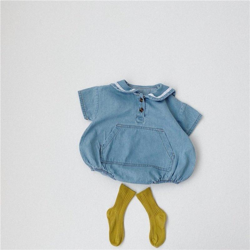 2020 2020 Verão Toddlers Bebê Denim macia Bodysuits Sailor Collar estilo coreano Crianças roupas casuais Macacões crianças Jumpsuits Fech #