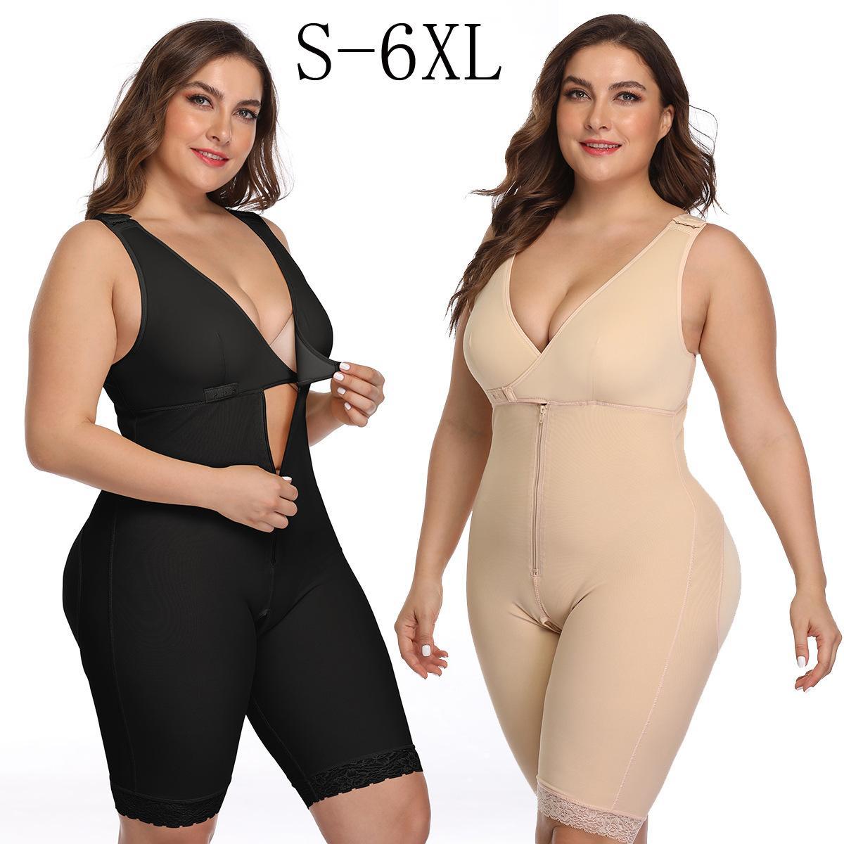 Плюс размер 6XL LATEX женщин Тело Shaper Сообщение Липосакция Girdle Клип Zip Bodysuit жилет талии Shaper Reductoras Shapewear CX200729