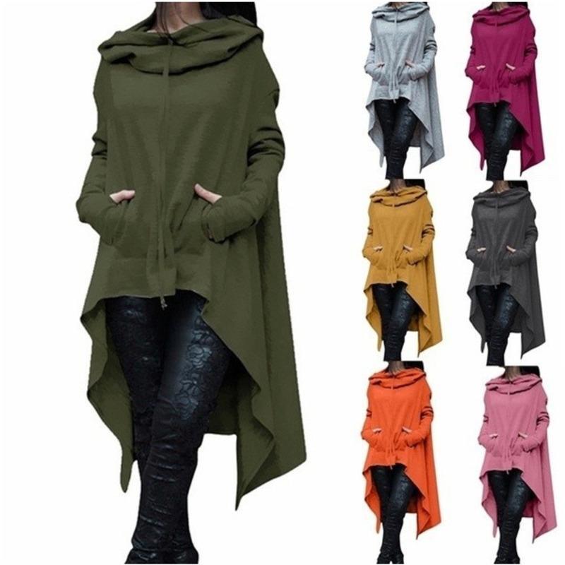 Herbst-Winter-Frauen Batwing Kapuze Asymmetrische beiläufiger lange Hülsen-loser Mantel Pullover Poncho Sweatshirts Damen Hoodies T200727