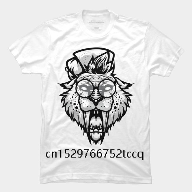 Trendy Creative Graphic Men's 2020 Fashion summer Style T Shirt HIPSTER TOOTH TIGER Men's white short sleeve t shirt