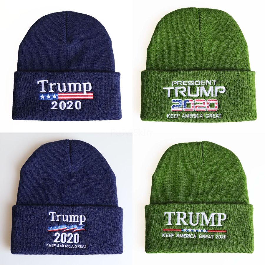 Trump 2020 Gorros Cap Re-Eleição Keep Warm América Grande Carta de tricô Chapéus Bordados inverno presente do chapéu Cap Sports Natal Cheap # 743